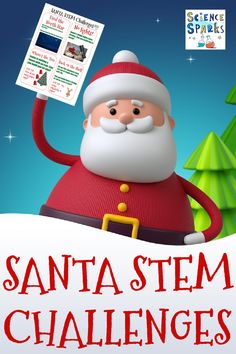 Festive collection of Santa themed STEM Challenges with FREE printable too! Build Santa a Christmas tree, help him catapult a present to the top, build him a torch, find the North Star and more Christmas STEM for kids #SantaSTEM #ChristmasSTEM #STEMforkids Stem For Kids, Stem Challenges, Creative Thinking, Science Experiments, Santa