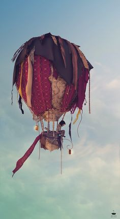 Handmade Rag Tag Hot Air Balloon by TwistedWiresTorquay on Etsy Balloon Illustration, Graphic Design Illustration, Book Illustration, Outside Christmas Decorations, Tattoo Photography, Art Corner, Heart Art, Hot Air Balloon, Concept Art
