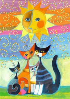 Own a piece of art by Rosina Wachtmeister. Momenti di Felicità by Rosina Wachtmeister Art Fantaisiste, Illustration Art, Illustrations, Cat Quilt, Cat Colors, Here Kitty Kitty, Cat Drawing, Whimsical Art, Art Plastique