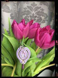 Soutache earrings , Lila, white Metallic, violet, gray