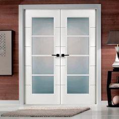 Puertas San Rafael Lacada 9005 internal 4 light fire door pair with horizontal omega grooved lines. #directdoors & Genuine Pilkington Glass Patterns / Backing glass | attic ...