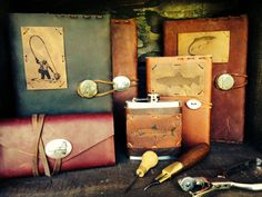 Leather goods for fishermen everywhere. Fly fishing wallets, fisherman's flask, small and large journals--all customizable for your fisherman. #giftideas #happyholidays. More at www.coldmountaincraft.com