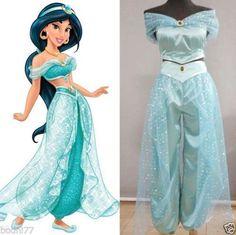 Hotting! Aladdin Jasmine Princess Cosplay Costume for Adult Custom made costume