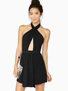 Black Cross Halter Backless Sexy Dress US$22.95