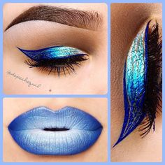 "#ShareIG New Wave  Winged Liner with stripes  Lips - @colourchasecosmetics ""Confidence"" & ""Pearl"" Lipsticks. Eyes - MAC ""Quite Natural"" Paint Pot. @NYX Cosmetics Brown Gel Liner. NYX Eyeliners in Extreme Blue, Sapphire, Glam Azure, & Sky Blue. All brushes used are by @Amanda @ Black Rabbit Studio"