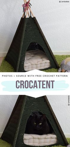 For Cats Free Patterns CroCaTent Free Crochet Pattern Create this amazing boho tent for your cat with basic crochet techniques.CroCaTent Free Crochet Pattern Create this amazing boho tent for your cat with basic crochet techniques. Gato Crochet, Crochet Gratis, Crochet Mouse, Free Crochet, Crochet Birds, Cat Couch, Crochet Granny Square Afghan, Granny Squares, Crochet Ball