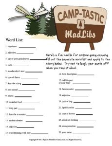 8 Best Images of Camping Mad Libs Printable - Free Printable Camping Mad Libs, Free Printable Camping Mad Libs and A Spooky Story Campfire Mad Libs Printable