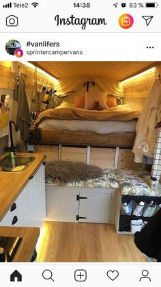 Sprinter van with bed in the correct direction (for us)…no climbing over each other! Sprinter van with bed in the correct direction (for us)…no climbing over each other! Sprinter van with bed in the correct direction (for us)…no climbing over each other! Tiny Camper, Bus Camper, Camper Life, Camper Beds, Rv Campers, Camper Trailers, Van Interior, Camper Interior, Interior Design