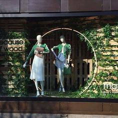 """SELFRIDGES,London,UK, """"Because of Wood"""", clothing by Maje,Fabric mannequins by Hans Boodt, pinned by Ton van der Veer"""