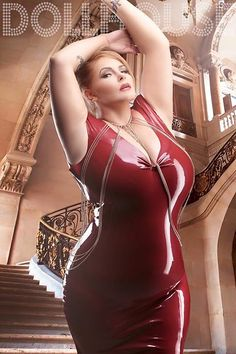 Louise Varns in red latex - Dollhouse photography