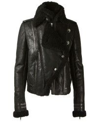 Anthony vaccarello Black Aviator Aged Leather Jacket in Black | Lyst
