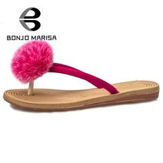 BONJOMARISA 2017 Hot Sale Comfort Hair Balls Women Flip Flops Woman Shoes Leisure Flat Heels Beach Slides For Summer