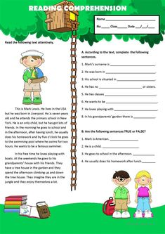 A worksheet to test reading comprehension. 2nd Grade Reading Comprehension, Picture Comprehension, Reading Fluency, Reading Passages, Reading Skills, Reading Response, English Grammar Worksheets, Reading Worksheets, Grammar Lessons