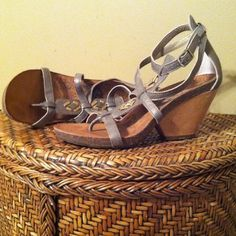OTBT strappy ankle sandals. Super cute OTBT pewter sandals. Only worn a handful of times.  I can model if I need to. OTBT Shoes Sandals