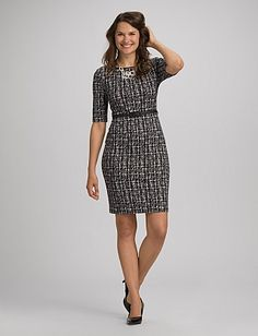 Belted Faux Leather Trim Dress | Dressbarn...maybe for the wedding