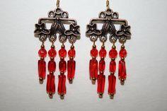 Red Chandelier Earrings with Antique Copper by ClassyKittyJewelry