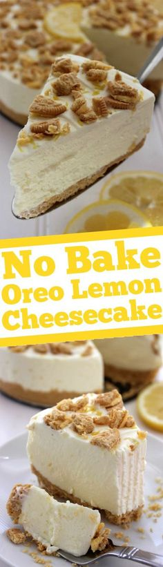No Bake Oreo Lemon Cheesecake Dessert Recipe via Cincy Shopper - Super simple with no baking involved, great for spring and summer parties or celebrations. Best Cheesecake, Cheesecake Desserts, Lemon Desserts, Köstliche Desserts, Lemon Recipes, Baking Recipes, Delicious Desserts, Dessert Recipes, Yummy Food