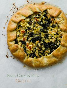 Kale galette recipe with corn and feta cheese. This easy savory galette recipe has fresh corn, kale and feta cheese. It's the perfect kale recipe for galettes.