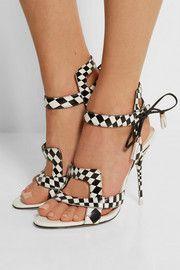 Sandales à talons en cuir à carreaux Poppy