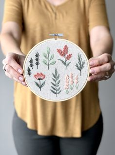 Hand Embroidery Stitches, Modern Embroidery, Embroidery Hoop Art, Floral Embroidery, Embroidery Designs, Monogram Cross Stitch, Personalized Baby Shower Gifts, Floral Hoops, Cross Stitch Flowers