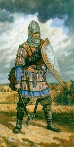 IGOR DZIS BATTLE PAINTING: Novgorod warriors end of XIV cent.