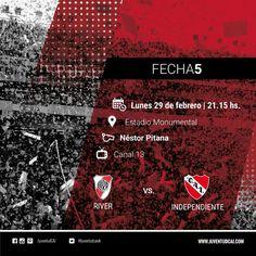 ¡HOY INDEPENDIENTE! Desde las 21:15 #Independiente y River definirán en el Monumental la fecha 5. #VamosRojo