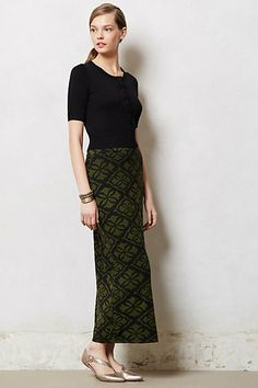 black and olive and a beautiful print make this an obviously autumn maxi