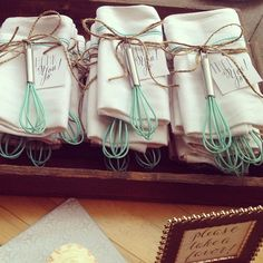 "Favor Couture - Sally Wilson Shops How cute! One lovely party host creatively tied our ""Something Blue"" kitchen whisks to tea towels for a fun and unique bridal shower gift. Shop & create your own fab favors ➵ http://favorcouture.theaspenshops.com/something-blue-kitchen-whisk.html Favor Couture - Sally Wilson Shops Credits: Kate Aspen"