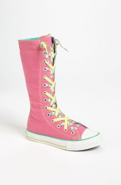 pink converse knee high sneakers size: size 2 in kids sneakers, Size 1 in kids for flats