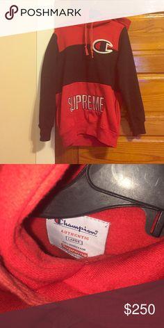 SUPREME X Champion sweatshirt Lightly worn. A large but runs like a small. Supreme Jackets & Coats Puffers