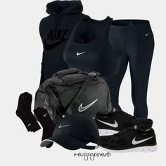 """""""All Black Nike Work  """"All Black Nike Workout"""" ..........new workout clothes always motivate me! Black clothes for my fats funeral!(:"""