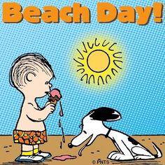 Beach day! Snoopy cartoon via www.Facebook.com/Snoopy