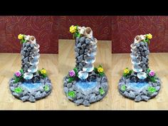 sea shell craft   Best Out of waste   How to make sea shell fountain showpiece   AJ craft - YouTube Seashell Projects, Seashell Crafts, Diy Crafts Hacks, Diy Crafts For Kids, Cactus E Suculentas, Peacock Crafts, Diy Air Dry Clay, Cement Flower Pots, Diy Fountain
