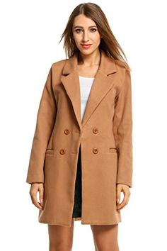 HOTOUCH Women Overcoat Jacket Double Breasted Wool Blended Pea Coat Brown L. Shell: 60% Wool, 30% Polyester; Lining: 100% Polyester. Double Breasted Pea Coat, Notched Lapel, Above Knee Length, Two Front Pockets for Convenience, Slim fit Wool Blend Coat. Medium Weight Wool Blend Fabric Long Jacket Outwear Yet Warm for Chilly Weather, Make You Fashionable and Comfortable. Machine Wash Cold with Similar Colors / Do Not Bleach / Tumble Dry Low / Warm Iron. Warm and Casual Overcoat, Fashion...