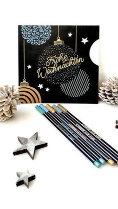 Stabilo Pen 68 metallic felt pens # holidays and occasions The STABILO Pen 68 meta . - Stabilo Pen 68 metallic felt pens # feiertageundanlässe The STABILO Pen 68 metallic gives creative - Diy Christmas Cards, Xmas Cards, Diy Cards, Christmas Crafts, Vector Christmas, Christmas Postcards, Christmas Design, White Christmas, Christmas Tree