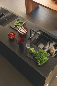 Rinsing guide: All about rinsing shapes, installation types, materials and fittings – Famous Last Words Kitchen Island Storage, Kitchen Island With Sink, Sink In Island, Farmhouse Kitchen Island, Modern Kitchen Island, Kitchen Island Lighting, Kitchen Islands, Rustic Lighting, Furniture
