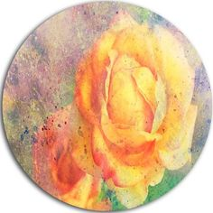 """DesignArt 'Yellow Rose Watercolor' Graphic Art on Metal Size: 38"""" H x 38"""" W x 1"""" D"""