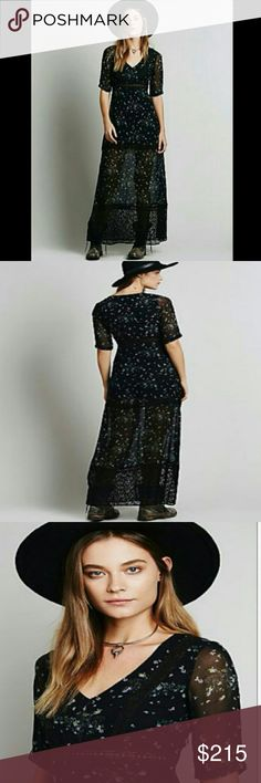 """NWOT Rare Free People Lace & Floral Chiffon Maxi Free People Exclusive Boho Romance Maxi Dress Blue/Black Lace Floral Chiffon. Super rare and incredibly stunning. Never worn and needs a good home. Has a slip that's goes 21 1/2"""" and full length of dress is 30"""". Has a hidden side zipper under the left armpit. Will fit a size 4/6. Not sure if I want to get rid of this but am open to offers. I love it so much but have never worn it and it needs to be seen! Free People Dresses Maxi"""