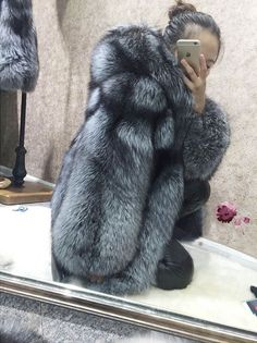 New Genuine Real Red Silver Fox Fur Long Coat Women Jacket Overcoat Parka Hoodie Winter Coats Women, Coats For Women, Jackets For Women, Long Fur Coat, Fur Coats, Fur Fashion, Womens Fashion, Fox Fur, Amazing Women