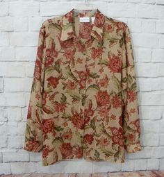 Womens ALFRED DUNNER Sheer Multi Color Floral Button Front Career Casual Top 14 #AlfredDunner #Blouse #CareerCasual