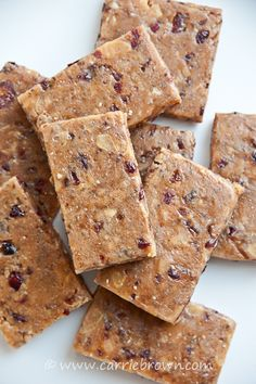 Carrie Brown  |  Cranberry Almond Protein Bars- skip cranberries and switch coconut out for the flaked almonds
