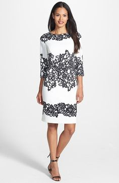 Adrianna Papell Placed Print Sheath Dress. Cream and black print- make an impact with color-pop accessories. Available at #Nordstrom, $138