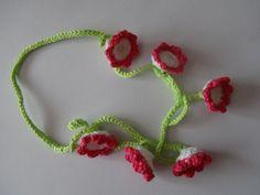 gehaakte bloemen ketting roze wit felgroen