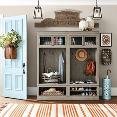 Find entryway cabinets, lockers and more from Ballard Designs! Shop the perfect entryway cabinet today! Entryway Furniture, Shabby Chic Furniture, Entryway Decor, Painted Furniture, Rustic Entryway, Modular Furniture, Furniture Stores, Cheap Furniture, Home Design