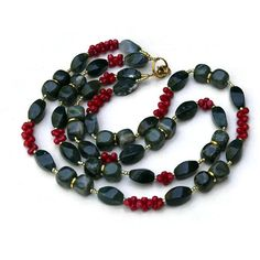 awesome Double Strand Olive Green Red Necklace Moss Agate by ... - Etsy