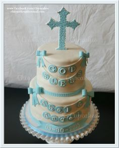 Baptism / Chistening Cake. Follow me: www.facebook.com/chioscakes  #BaptismCake #ChristeningCake #CakeParaBautizo #ReligiousCake