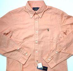 NEW M Ralph Lauren Classics Chambray Oxford Tangerine Orange Button Down Shirt…