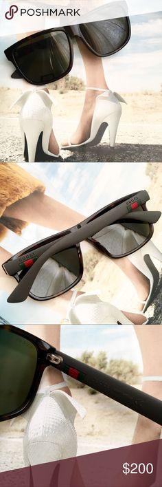 7335995b3 Gucci Havana Square-Frame Tortoiseshell Sunglasses Authentic Gucci GG0010SA  003 59 Havana Square Frame Acetate