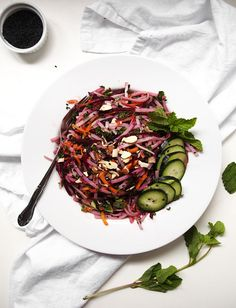 Rice Noodle Salad with Beets, Carrots, and Herbs | http://thekitchenpaper.com/rice-noodle-salad-with-beets-carrots-and-herbs/