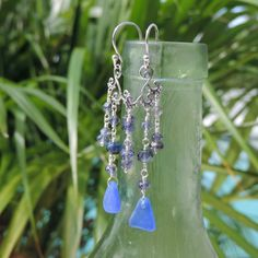 Calypso Earrings With Cobalt Blue Sea Glass From California | Out Of The Blue Sea Glass Jewelry